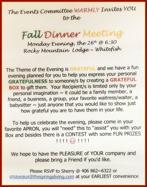 Fall Dinner Soroptimist Whitefish